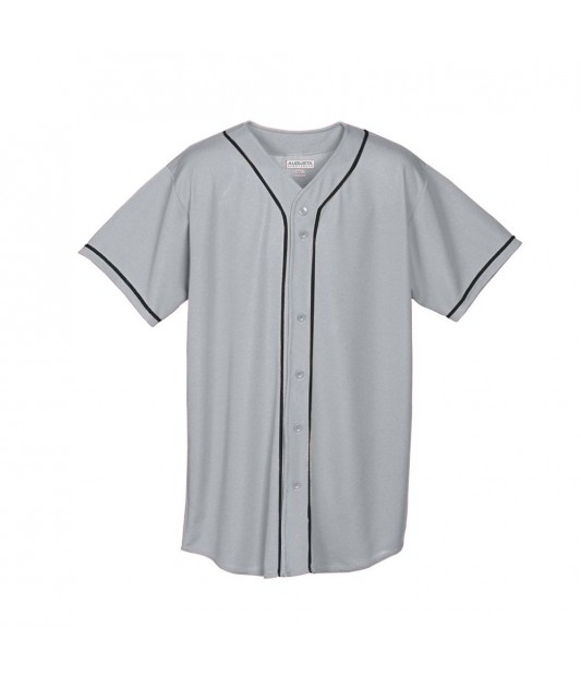 a7657c141 MEN S WICKING MESH BUTTON FRONT BASEBALL JERSEY WITH BRAID TRIM