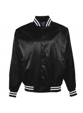 Boys' Satin Bbll Jkt/Striped Trm