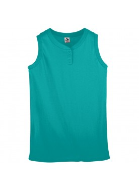 Girls Sleeveless Two-Button Softball Jersey