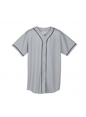 Wicking Mesh Button Front Jersey With Braid Trim