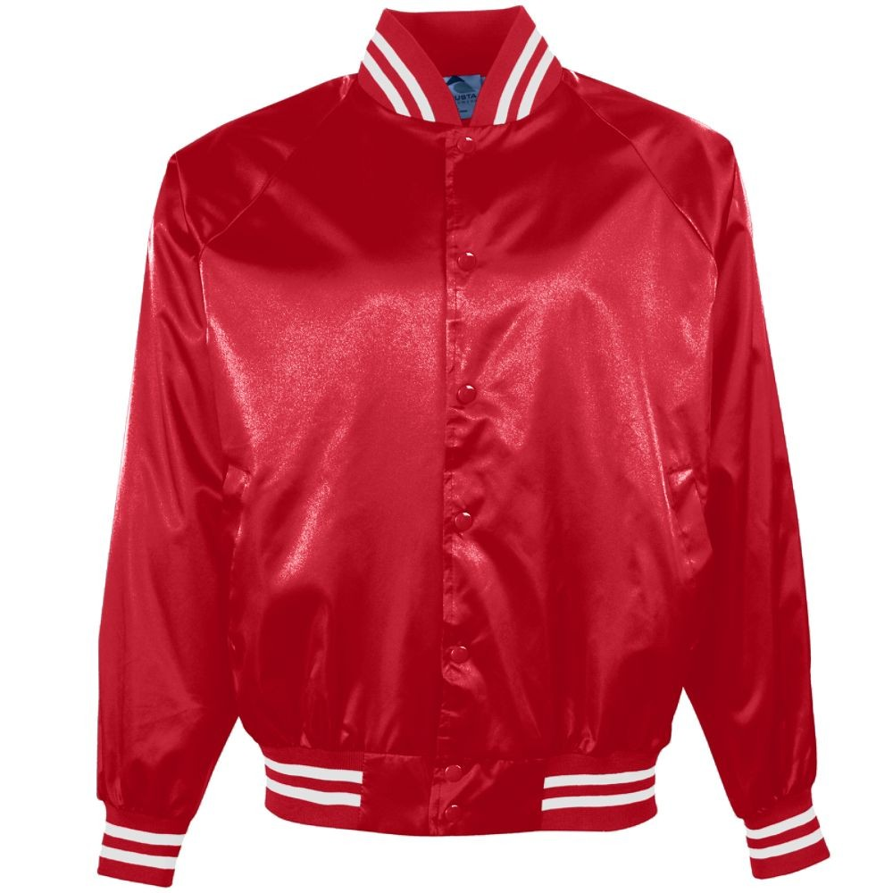 Men's Satin Baseball Jacket/Striped Trim