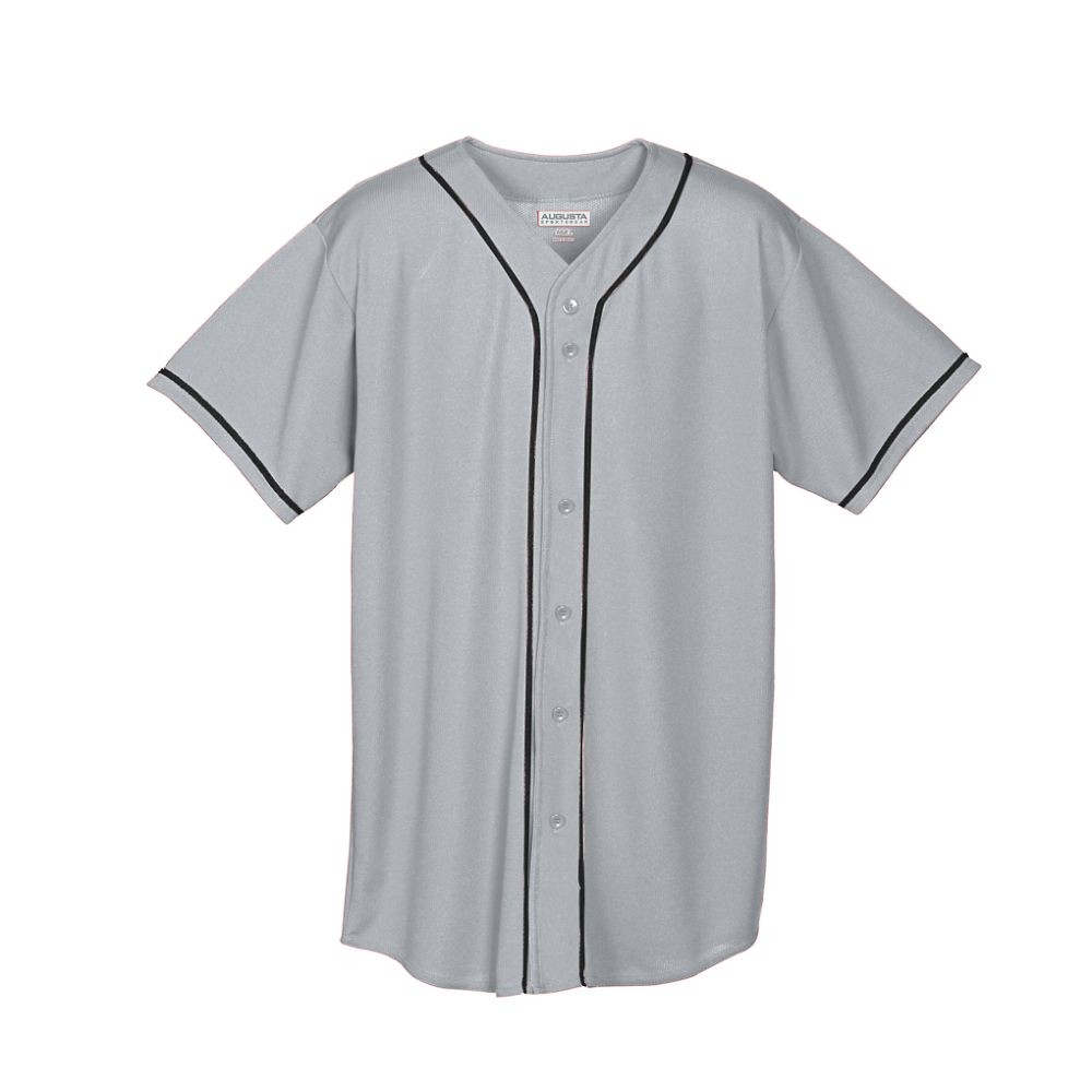 uk availability 12b2b fcfaf MEN'S WICKING MESH BUTTON FRONT BASEBALL JERSEY WITH BRAID TRIM
